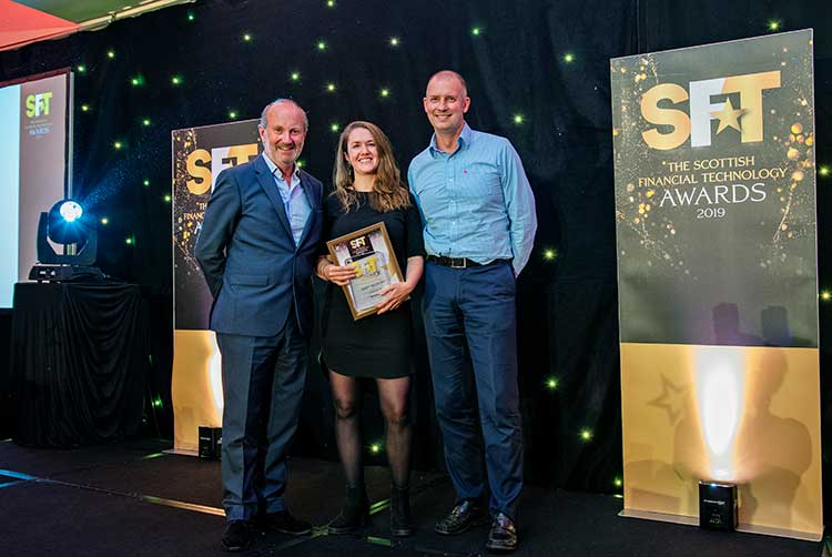 Fintech of the Year - Fred MacAulay, Jossie Ellis, head of growth at Money Dashboard and Callum Sinclair